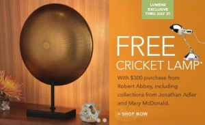 free cricket lamp as GWP