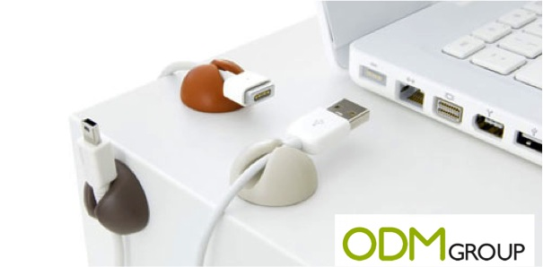Wonderful cable drop organisers as a giveaway