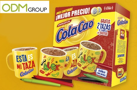 Promotional colouring cup by Cola Cao used as for dairy promos