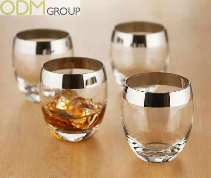 Liquor promotional products: Metallic rimmed whiskey glasses