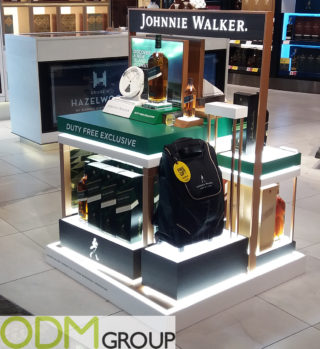 Whiskey Brand Promotion in Duty Free - Johnnie Walker Stand