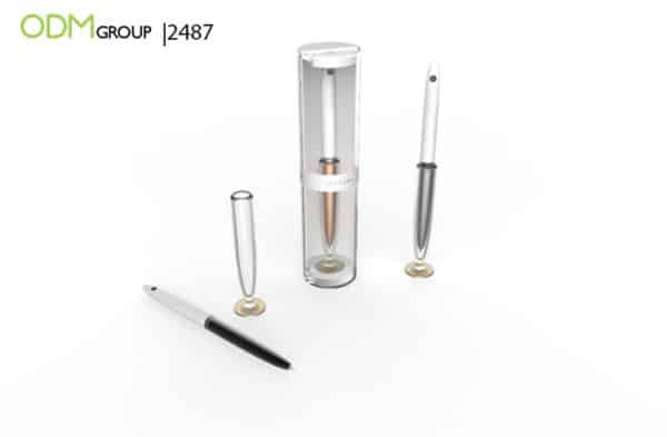 Metal pen with a crystal and pen holder 2487