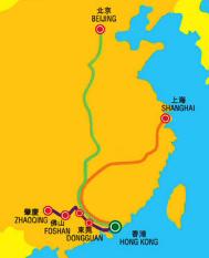 Hongkong Beijing Shanghai intercity rail map
