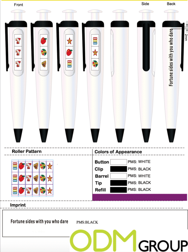 Branded Spin Pen for Casino Promotion