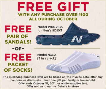 63f20057c336c New Balance Gift with Purchase Promotional Sandals & Socks