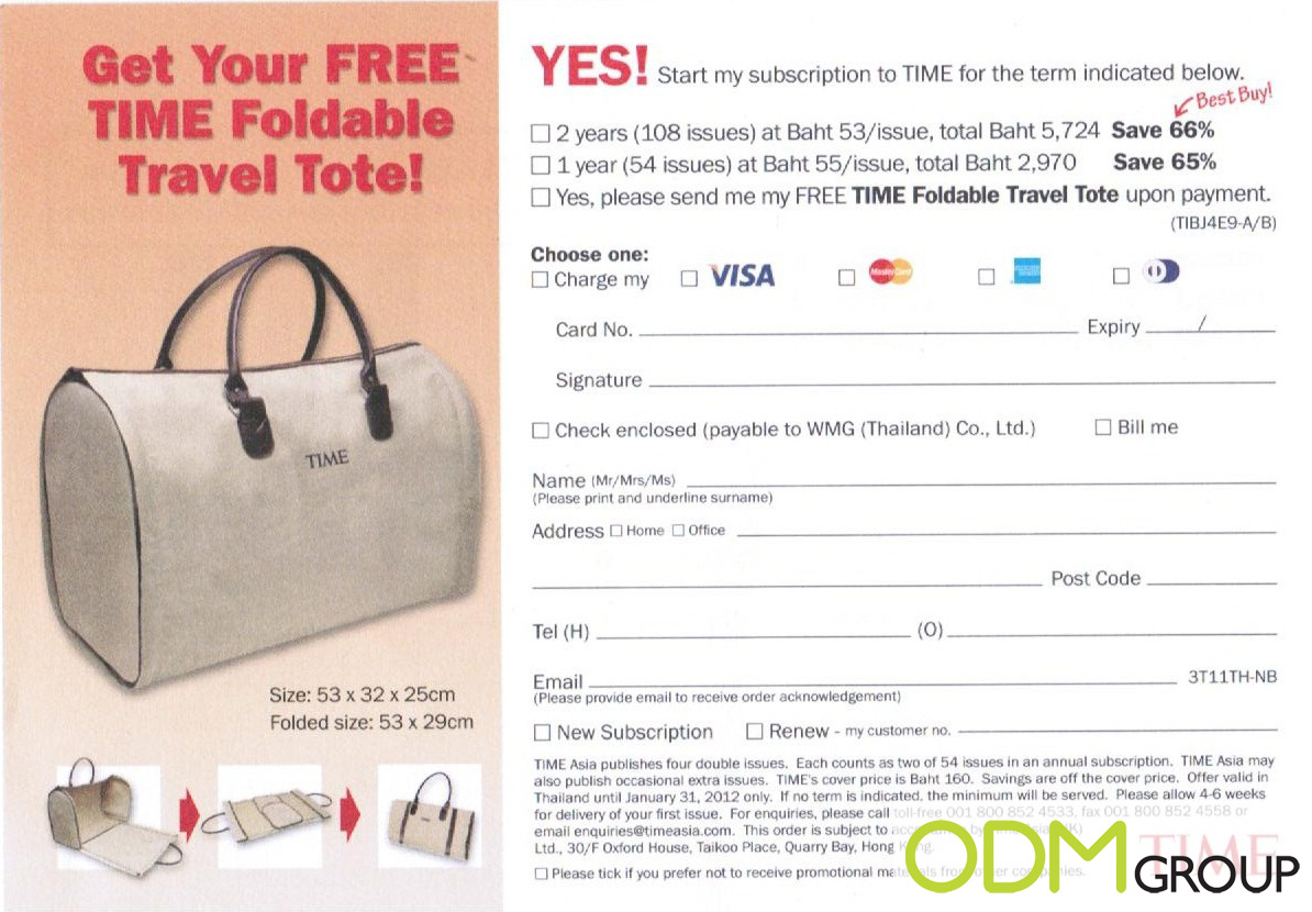 Gift With Subscription Free Time Foldable Travel Tote