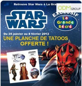 Promotional Products France - Free Tatoos given by La Grande Récré