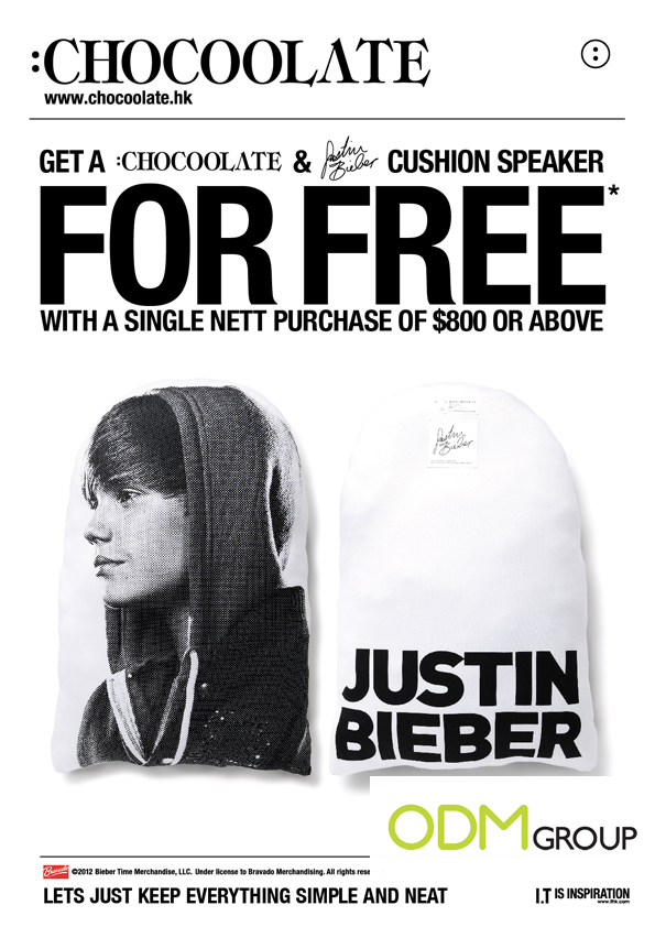 Incentive Product Hong Kong - Justin Bieber Cushion Speaker by Chocoolate