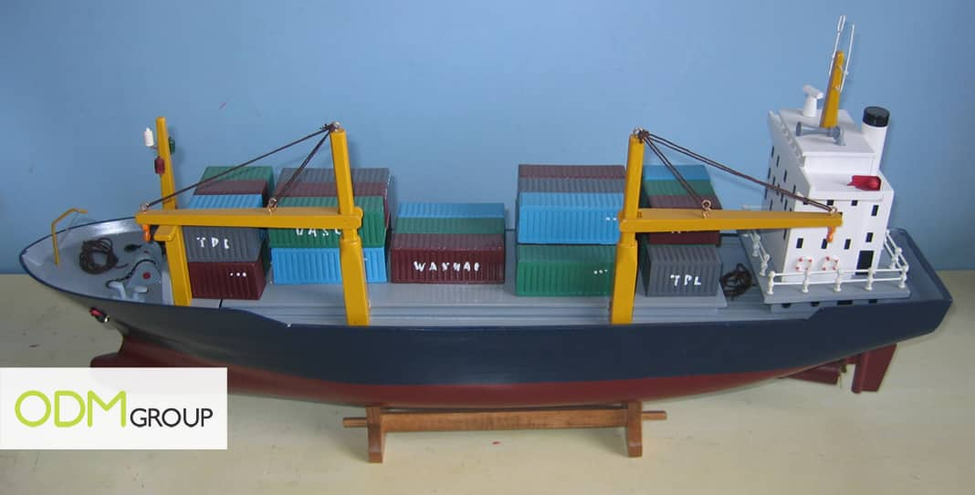 Promotional container ship with crane