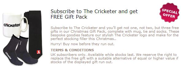 Gift with Purchase - Mug, Tie and Socks from The Cricketer Magazine