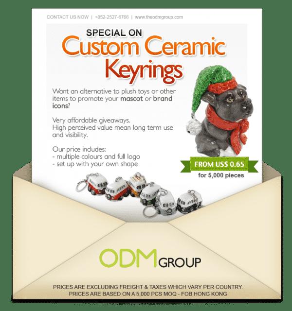 Custom promotional ceramic keyring