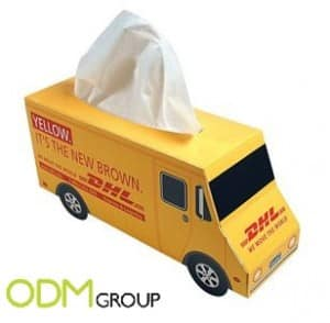Using a marketing product to increase our brand awareness like DHL Express: Diposable Tissues