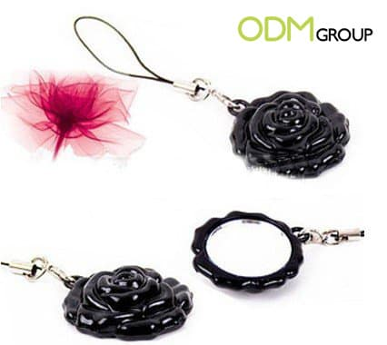 Rose-Shaped Mirror Keychain