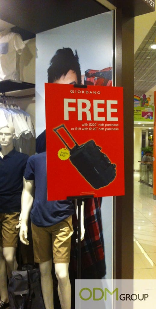 Giordano's In Store Marketing Offers Sturdy Trolley Bag!