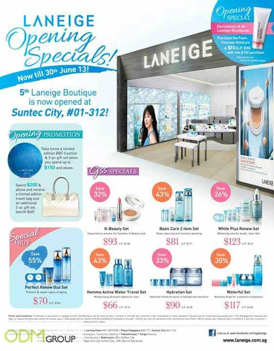 Laneige Celebrates Opening Special with In Store Marketing!
