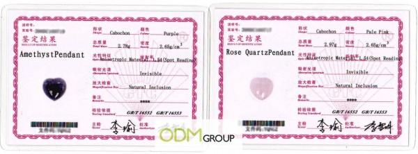 Certificates Natural Stones