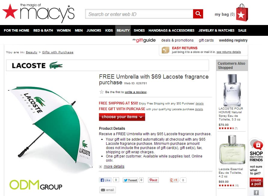 new concept 5b4be 14f39 Classy GWP by Lacoste – Umbrella