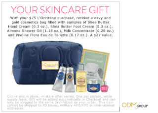 Gift with Purchase with L'Occitane's Customized Cosmetic Bag