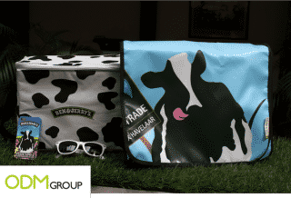 A recyclable billboard as a unique bag; example of Ben & Jerry's