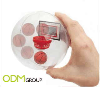 A promotional item to pratice your dunk; a mini Basketball game