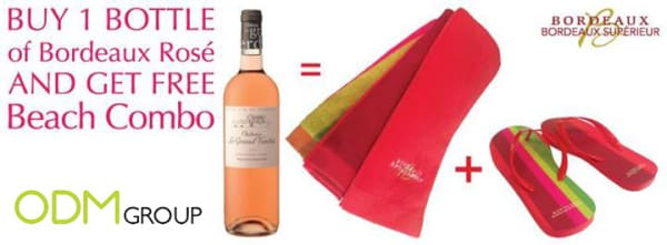 Beach promo when buying a bottle of wine