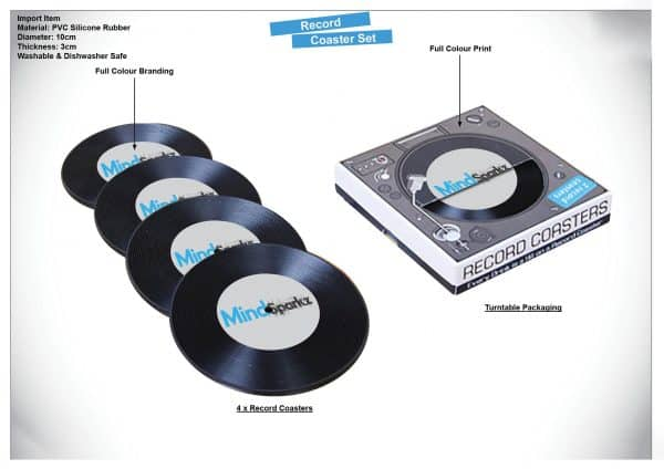 music marketing - custom record coasters set