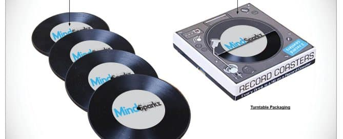 music marketing - custom record coasters set