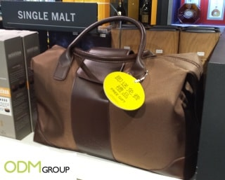 Duty free bag promo for Bowmore single malt whisky
