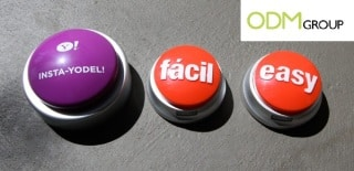 Customisable easy button makes for a novelty promo item