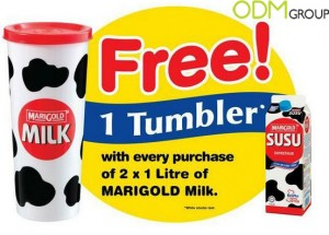Marigold-Milk-Promotional-Tumbler used as dairy promos