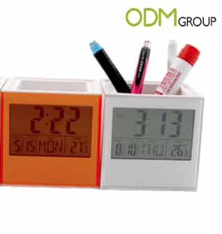 Custom clock pen holders as a promotional gift