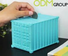Customized piggy bank shipping container as GWP