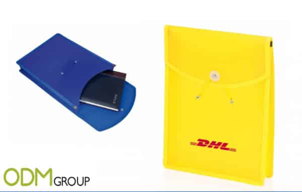 DHL offering promotional document wallet as a giveaway