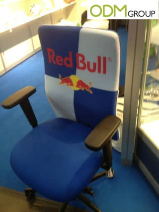 Branded office chairs by Red Bull