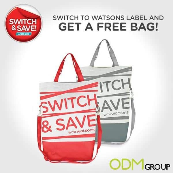 Gift with purchase tote bag from Watsons