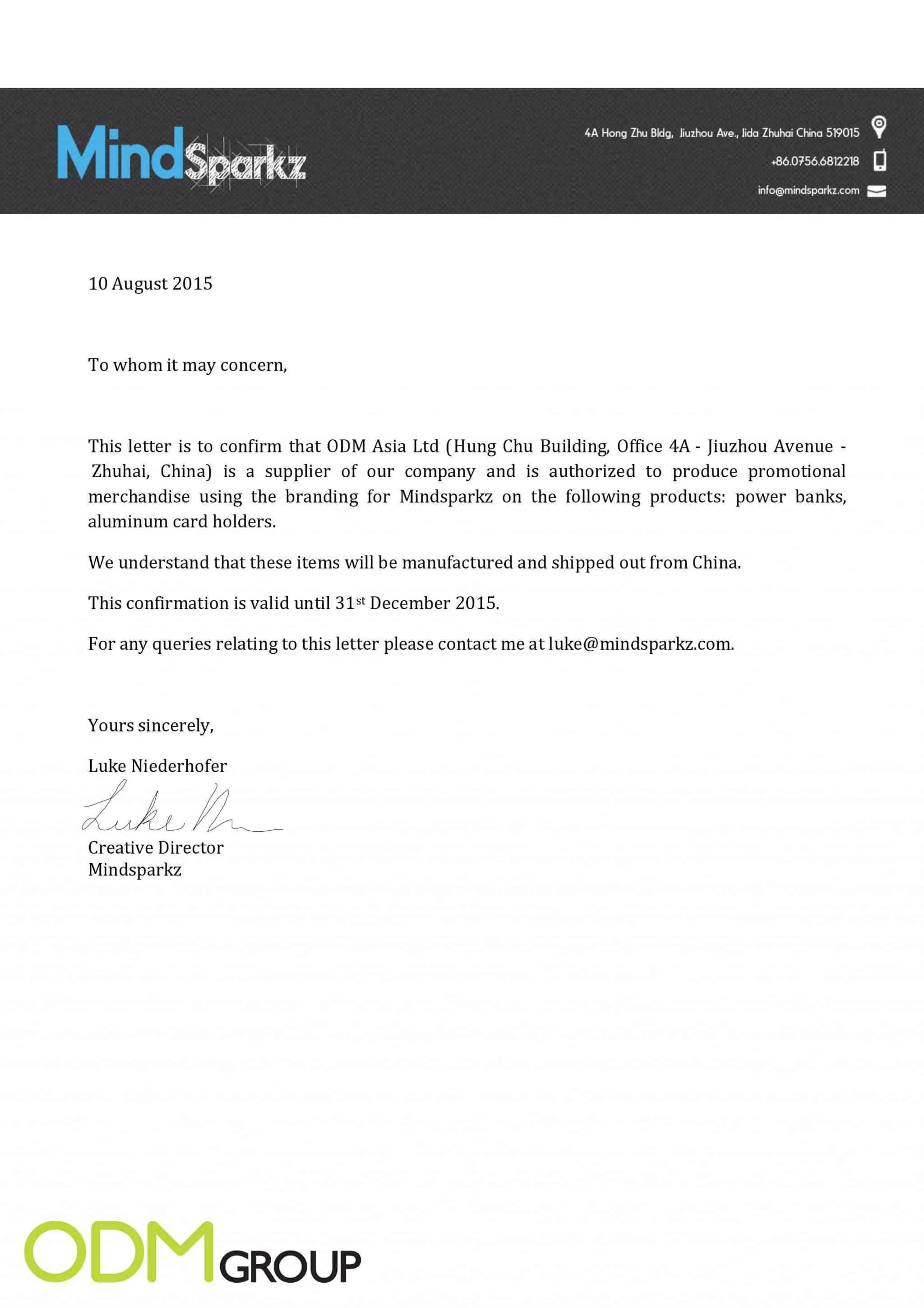 Sample Trademark Clearance Letter