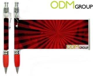 Branded flyer pens as promotional product.