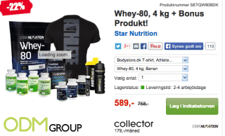Bodystore.dk is offering t-shirts as a redemption gift