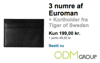 Danish fashion magazine offers a cardholder as covermount gift