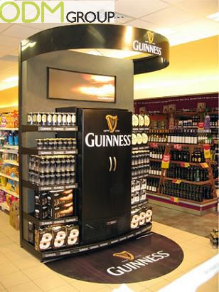 creative beer in store display attracts sales