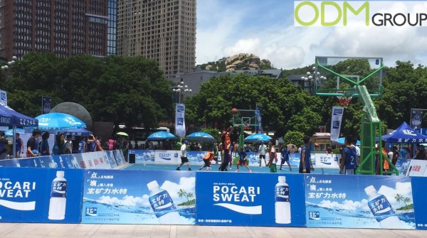 Pocari Sweat Display with Event Redemption Gifts
