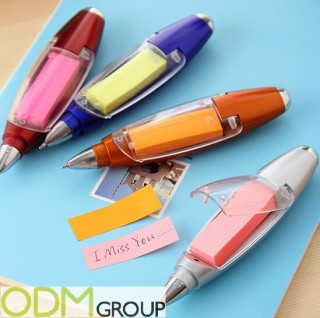 Promotional post-it pen as branded marketing gift