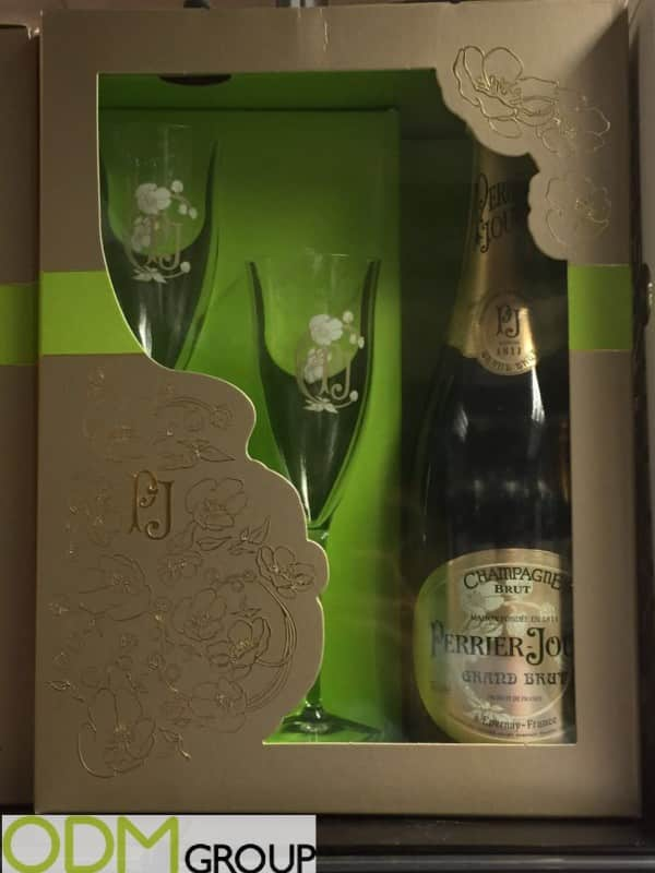 Champagne Glasses offered as On Pack Promotion