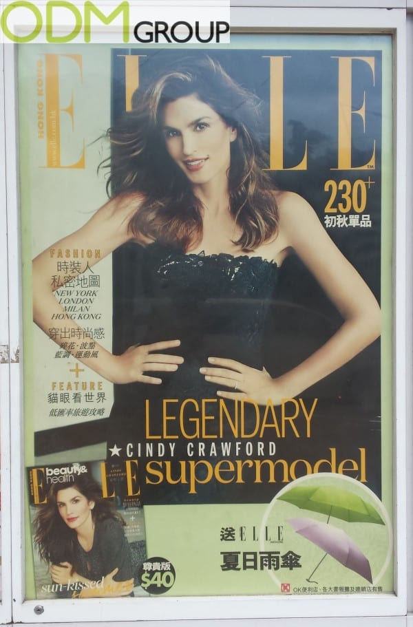 Elle uses promotional products as on pack gift