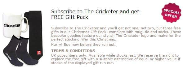 Gift with Purchase – Mug, Tie and Socks from The Cricketer Magazine