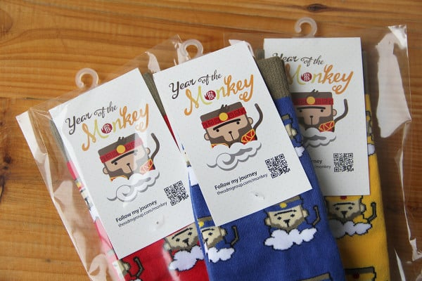 Sock Packaging and Tag Design: Our Lucky Monkey Socks