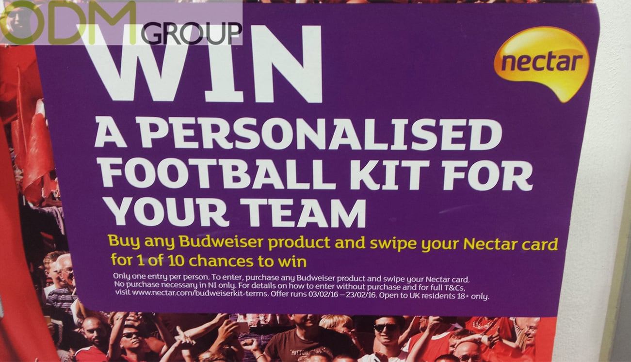 Advertising Display: Win a Budweiser Football Kit