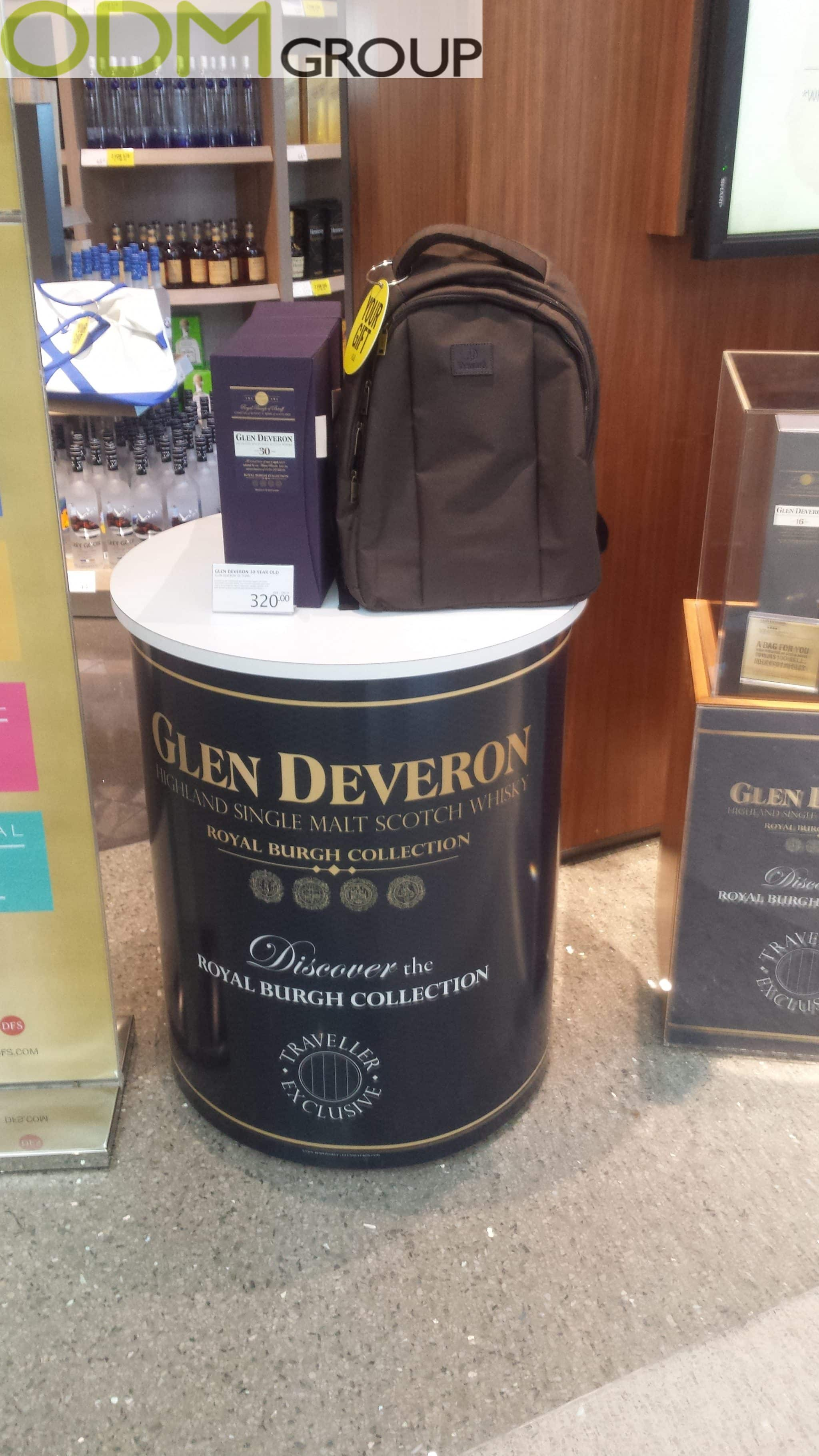 Duty Free Promo Backpack with Glen Deveron Whisky
