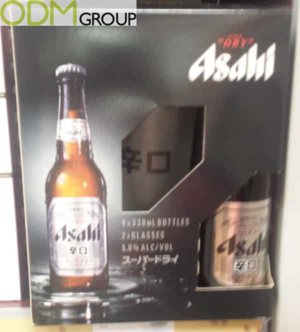 On Pack Promotion Glasses Free with Asahi Beer