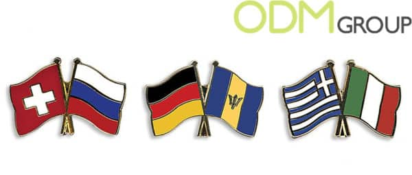 Twin Flag Pins - International Support Promo Idea
